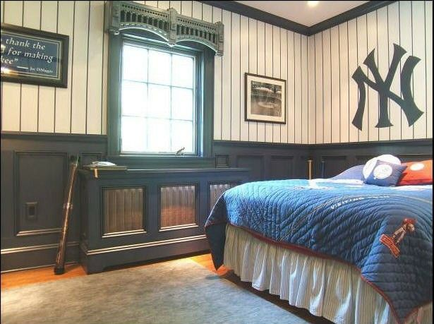 Baseball Bedroom For Boy Love The Pinstripe Walls But Not Yankees Of Course