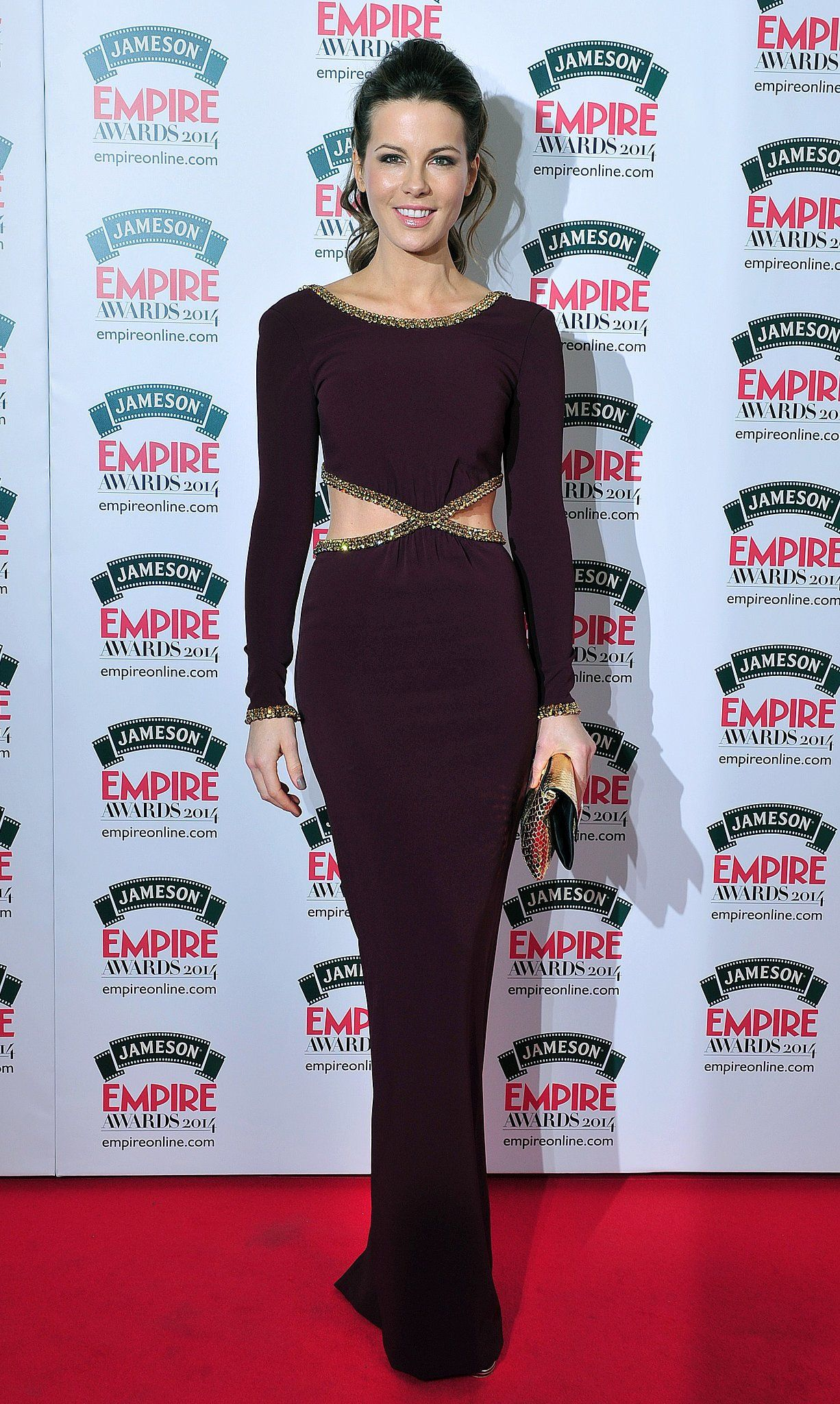 Kate Beckinsale flashed a sliver of skin at the 2014 Jameson Empire Awards in London.