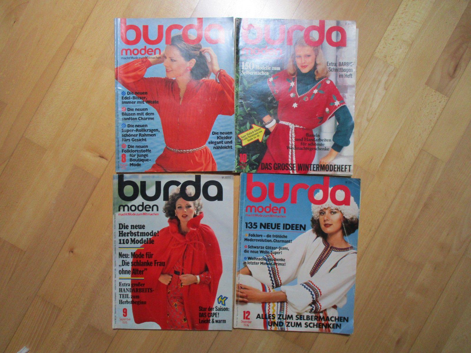 Burda Moden Nr. 8 9 10 12 / 1976 Zeitschrift Mode Nähen Schneidern ...