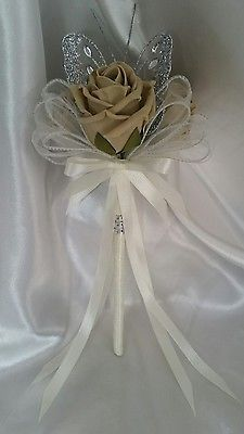 Artificial Wedding Flowers Bridesmaid Wands Coffee Ivory Silver Flower