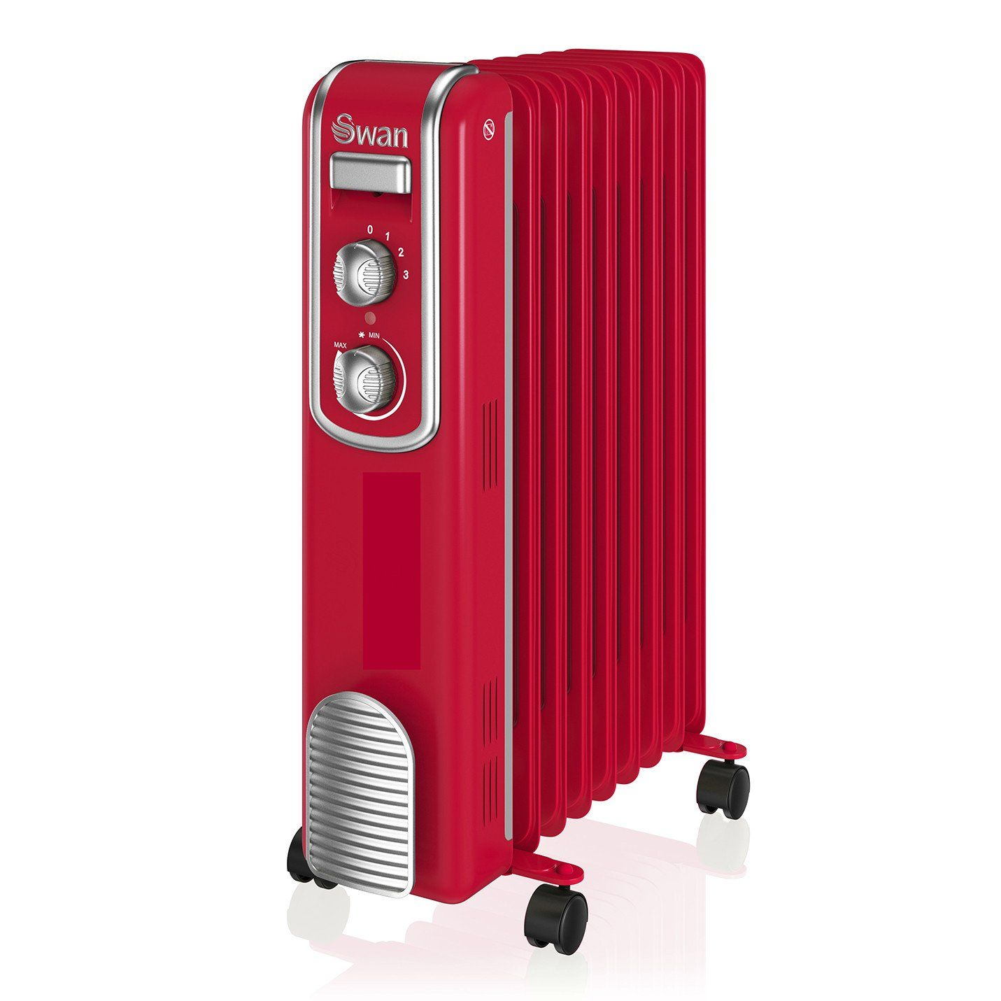 Swan 9 Finned Oil Filled Radiator Red Electric Heater Wall Mounted Heater Oil Filled Radiator