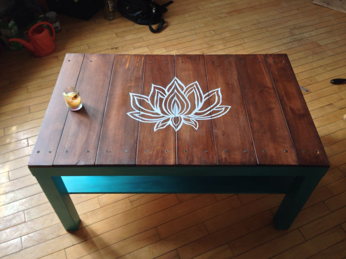 Ikea Upgrade Lack Coffee Table Sanded Primed Painted Top Of