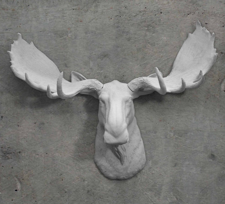 Moose Faux Taxidermy White Head Trendy Modern Decor