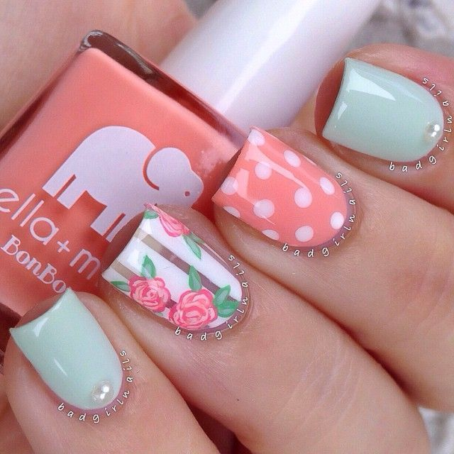 This design is adorable! I even love the elephant on the nail polish ...