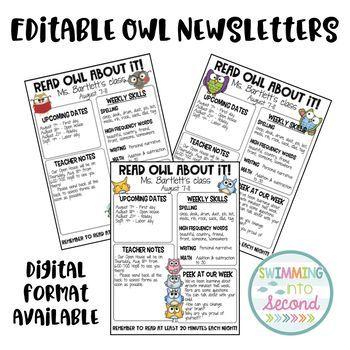 editable owl newsletters owl newsletter