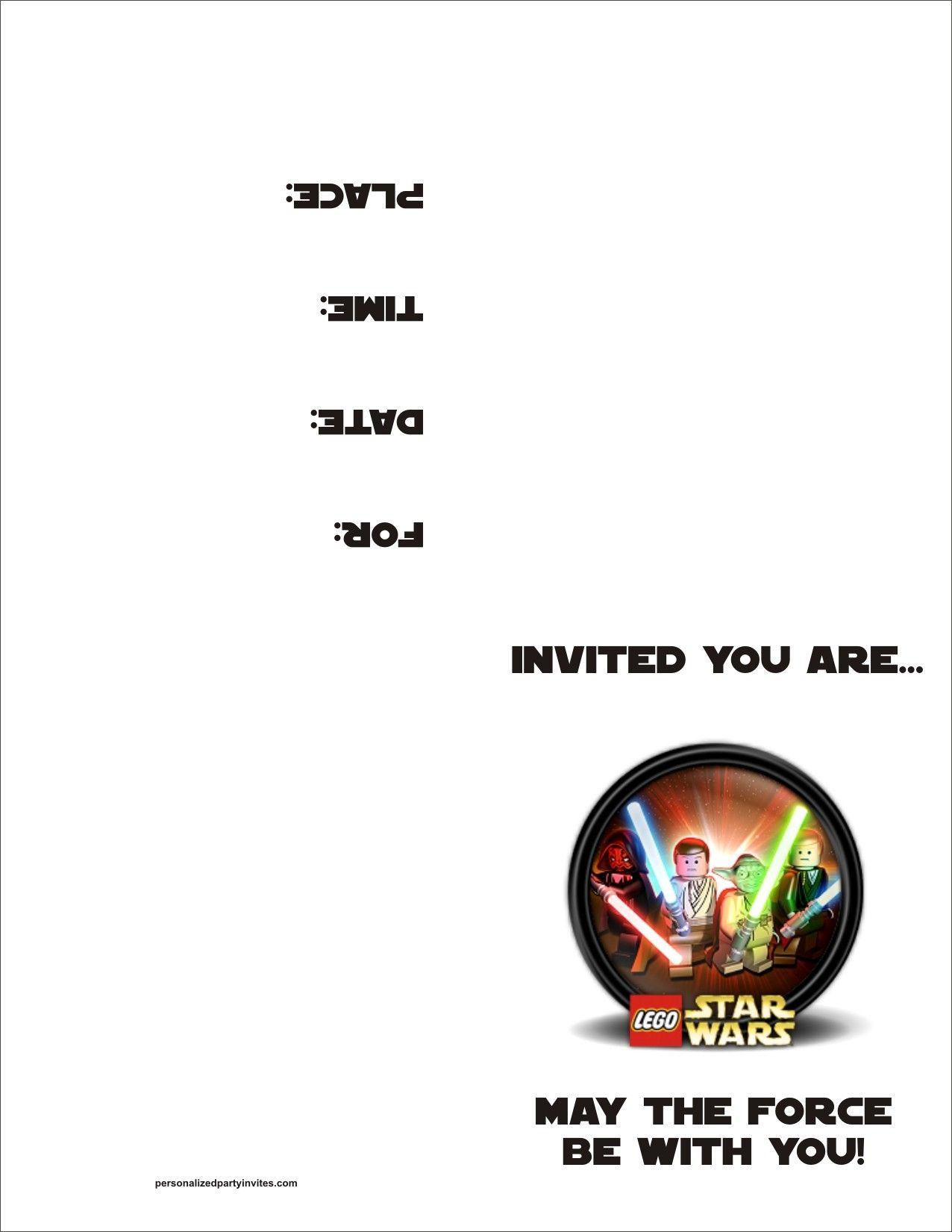 Lego Star Wars FREE Printable Birthday Party Invitation Doing