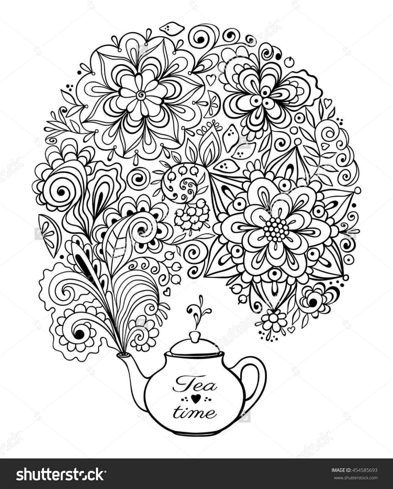 Colour book for adults - Tea Time Card Teapot With Doodle Floral Smoke Coloring Book Page 454585693 Shutterstock