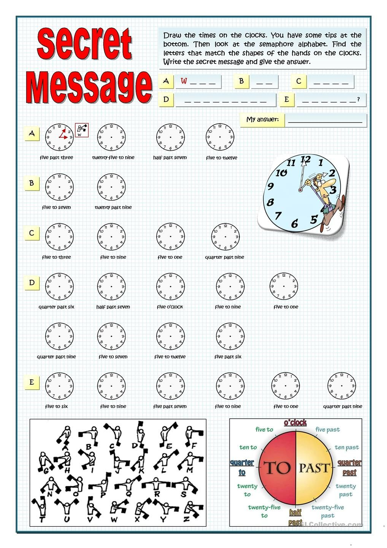 Secret Message Draw The Time Secret Messages Math Worksheet Secret