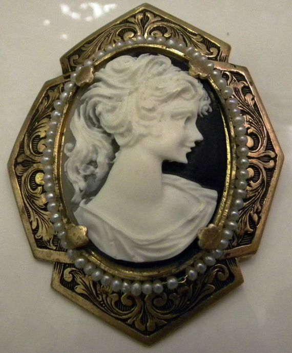 Large Antique Victorian Black White Cameo by bestpriceforyou, $89.00