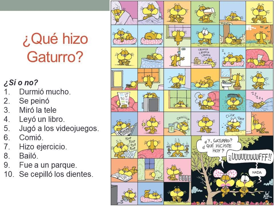 Input Activities El Preterito With Gaturro And With A Short Film