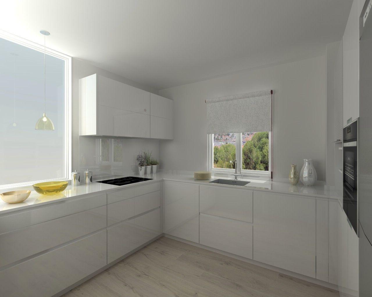 Cocina santos modelo line l blanco brillo encimera for Encimera silestone blanco