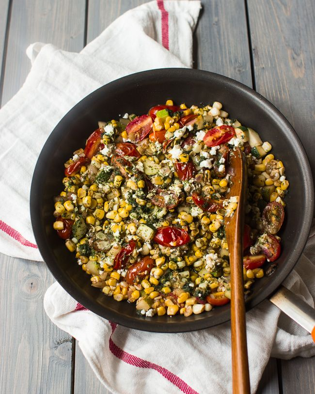 Corn, Tomato and Zucchini Salad with Basil Oil - The Adventures of MJ and Hungryman