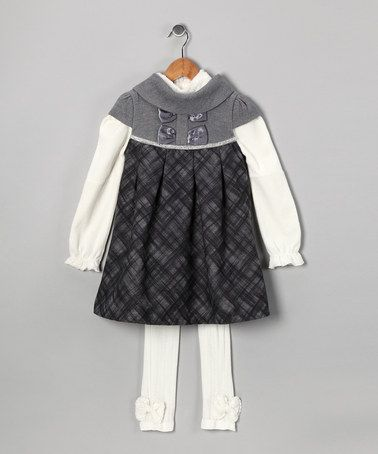 Take a look at this Gray Plaid Dress Set - Toddler & Girls by Bijan Kids on #zulily today!