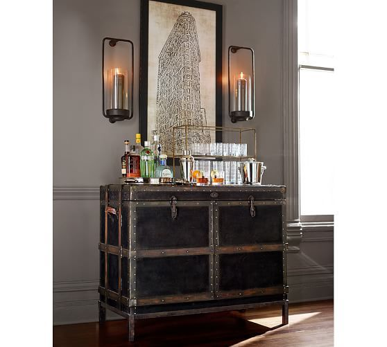 ludlow trunk bar cabinet pottery barn