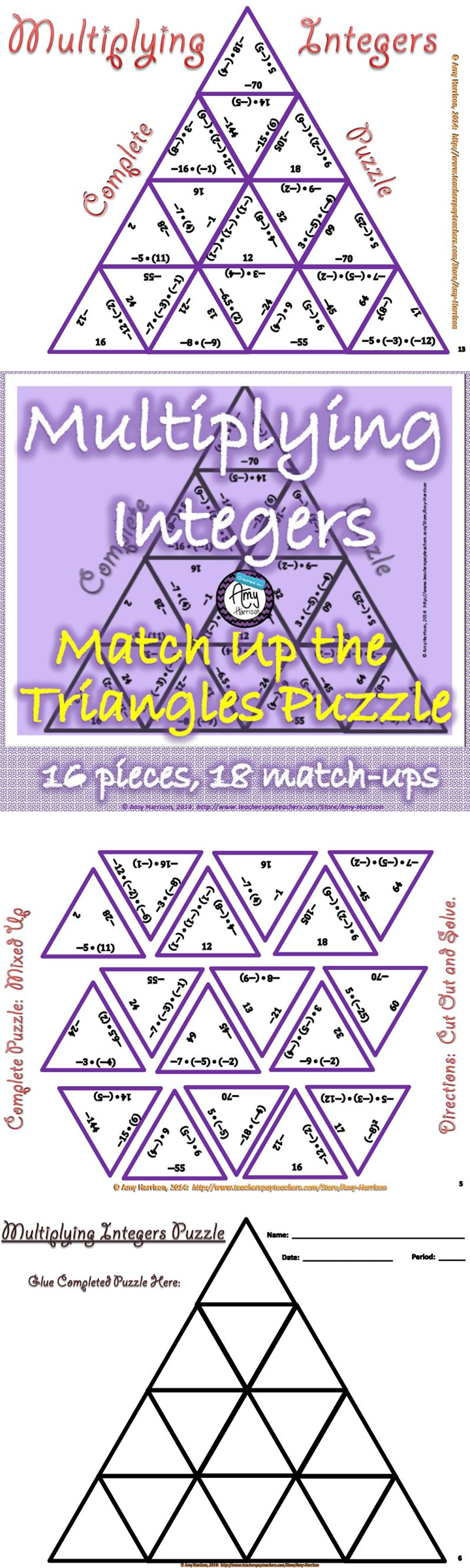 Multiplying Integers Matching Triangle Puzzle Specific ways to – Multiply Integers Worksheet