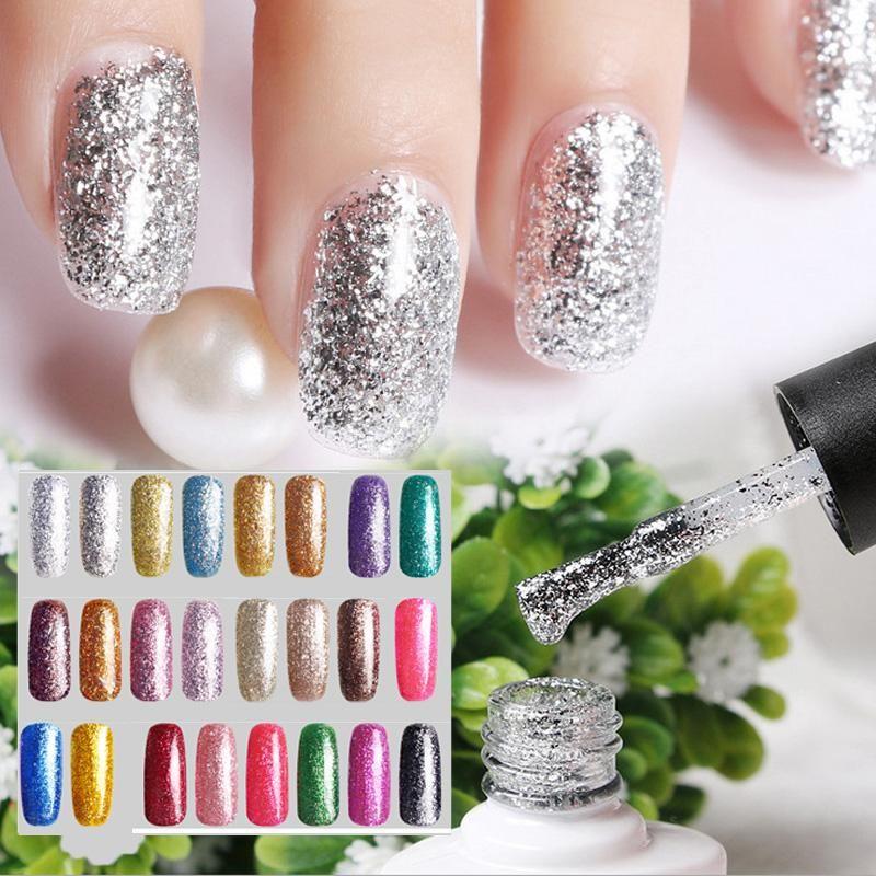 New Diamond Nail Gel Polish 10ml Glitter Long Lasting Varnish 24 ...