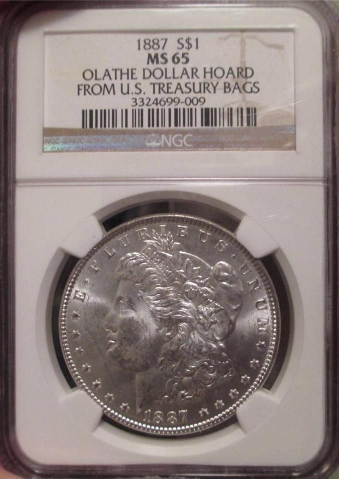 NGC MS64 1887 US Morgan Silver Dollar $1
