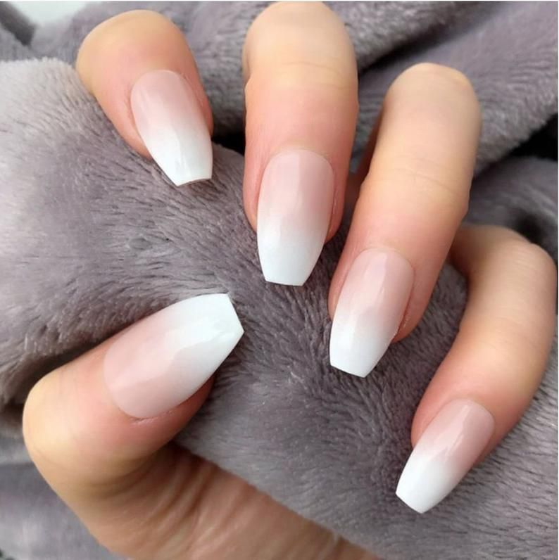 Short Coffin Ombre Press On Nail Fake Nails False Nails Etsy In 2020 Glue On Nails Fake Nails Coffin Nails Ombre