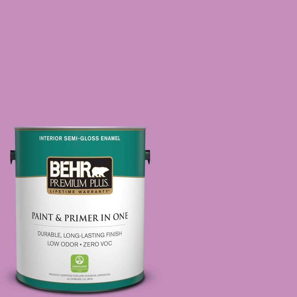 BEHR Premium Plus 1-gal. #670B-5 Pretty Petunia Zero VOC Semi-Gloss Enamel Interior Paint