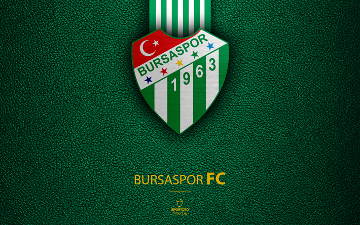 download wallpapers bursaspor fc 4k turkish football club leather texture emblem