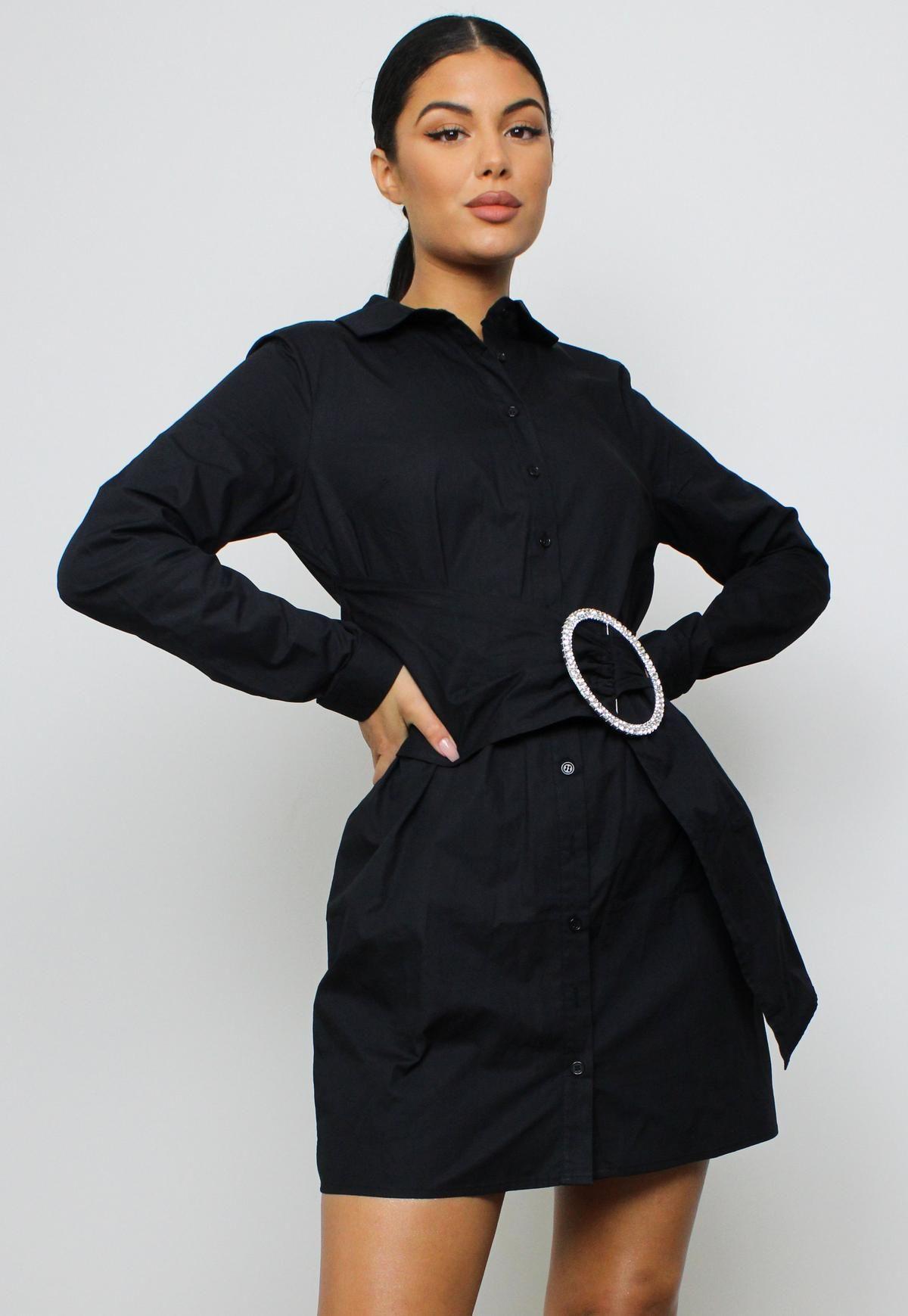 Missguided Black Diamante Belted Shirt Dress Black Shirt Dress Belted Shirt Dress Shirt Dress [ 1739 x 1200 Pixel ]