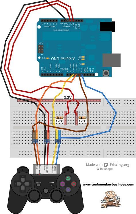 Connecting the PS2 Controller to the Arduino | foxy | Pinterest ...