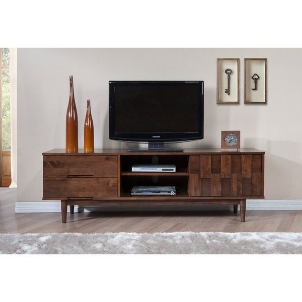 mid century danish style wooden 70 in media console tv stand in rich medium brown finish with 2 drawers - Medium Wood Living Room 2015
