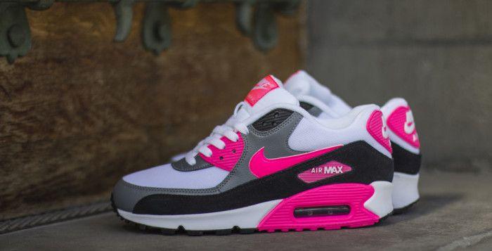 Los Angeles 772a6 3382f Nike WMNS Air Max 90 Essential Cool Grey Black Hyper Pink ...
