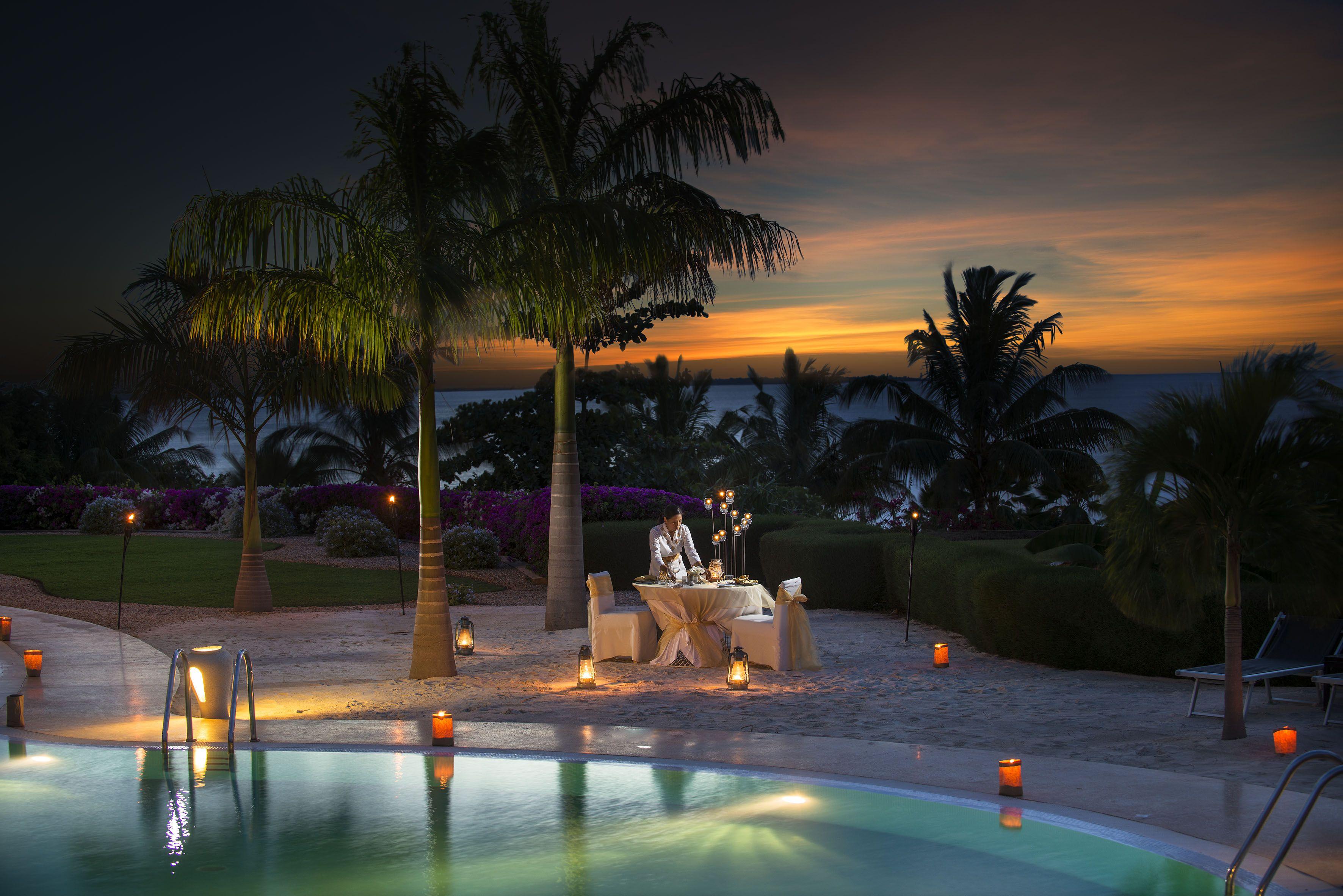 Romantic dinner under the stars on the beach!