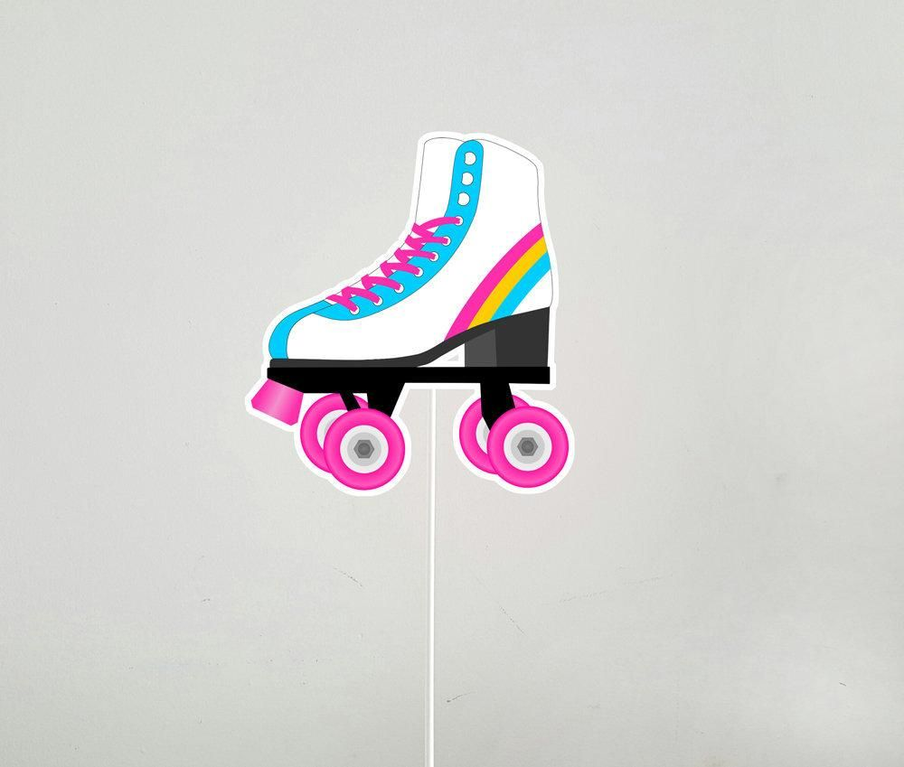 Roller Skate Cake Topper Centerpiece Stick In 2020 Roller Skate Birthday Roller Skate Cake Roller Skate Birthday Party