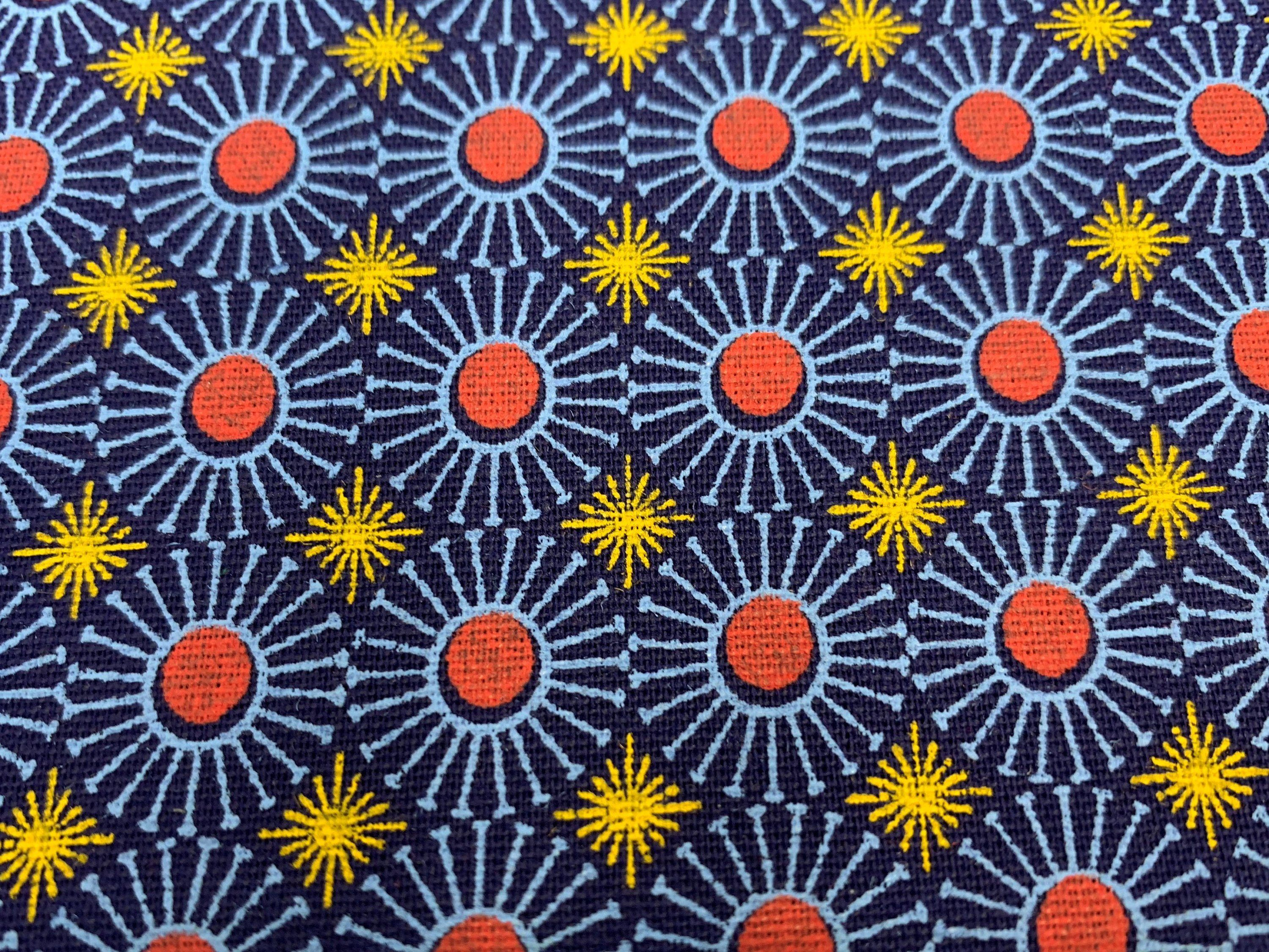 70d16887032 South African Shweshwe Fabric by the HALF YARD. DaGama Three Cats Royal  Blue Sunny Tiles. Cotton Fabric for Quilting