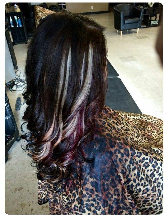 Blonde Plum Peekaboo Hair Styles Cool Hairstyles Cool Hair Color