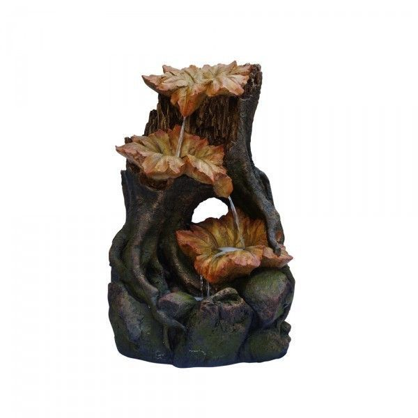 Alpine Three Leaf Tiers Rainforest Fountain With LED Lights