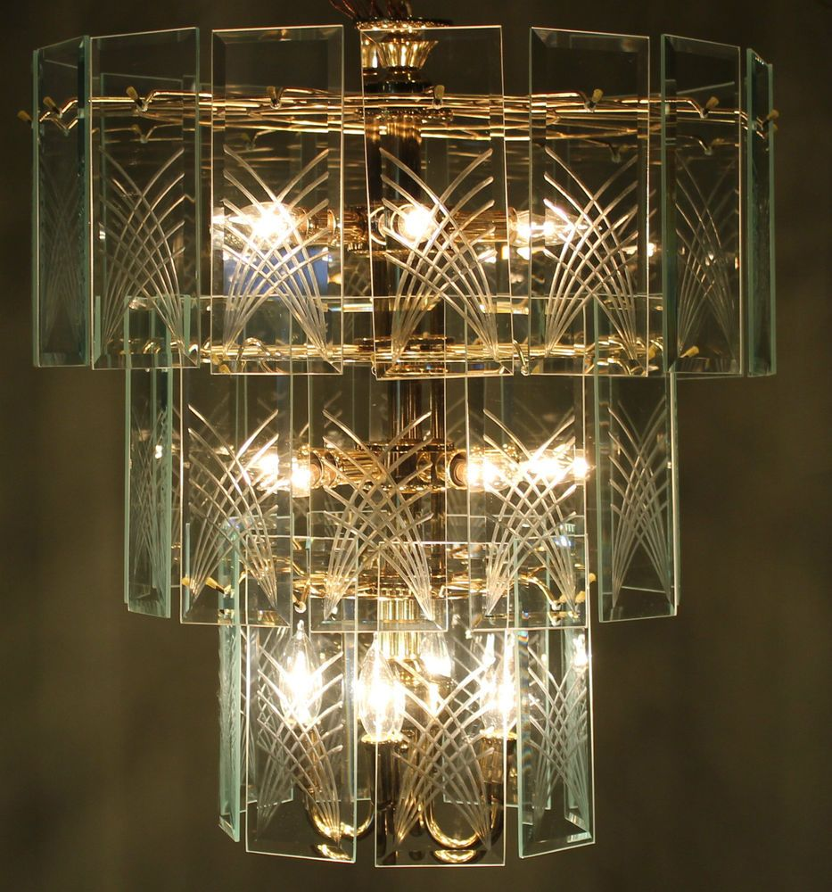 Mid century modern 3 tier etched glass panes chandelier 23 hanging mid century modern 3 tier etched glass panes chandelier 23 hanging light lamp unknown mozeypictures Image collections