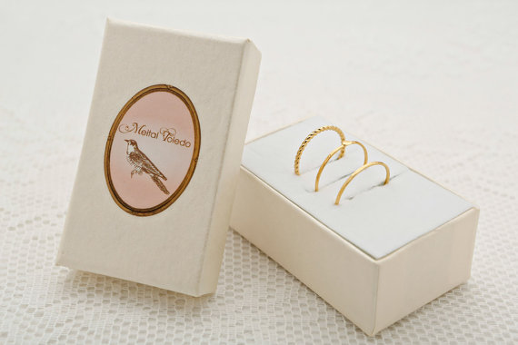 Gold Stackable ring set dainty thin ring knuckle ring delicate gold filled jewelry