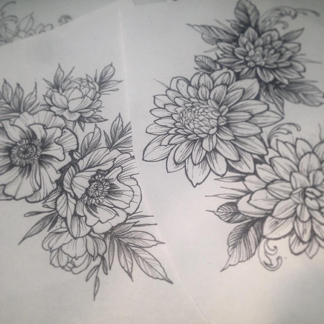 Poppies And Dahlias Tattooflash Tattooart Poppies Dahlias Blackart Flowers Flowerart Tabuns Flower Tattoos Floral Arm Tattoo Dahlia Flower Tattoos