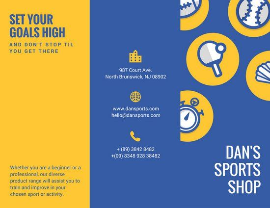 Blue Yellow Illustration Sports Sales Brochure | Printing Desing