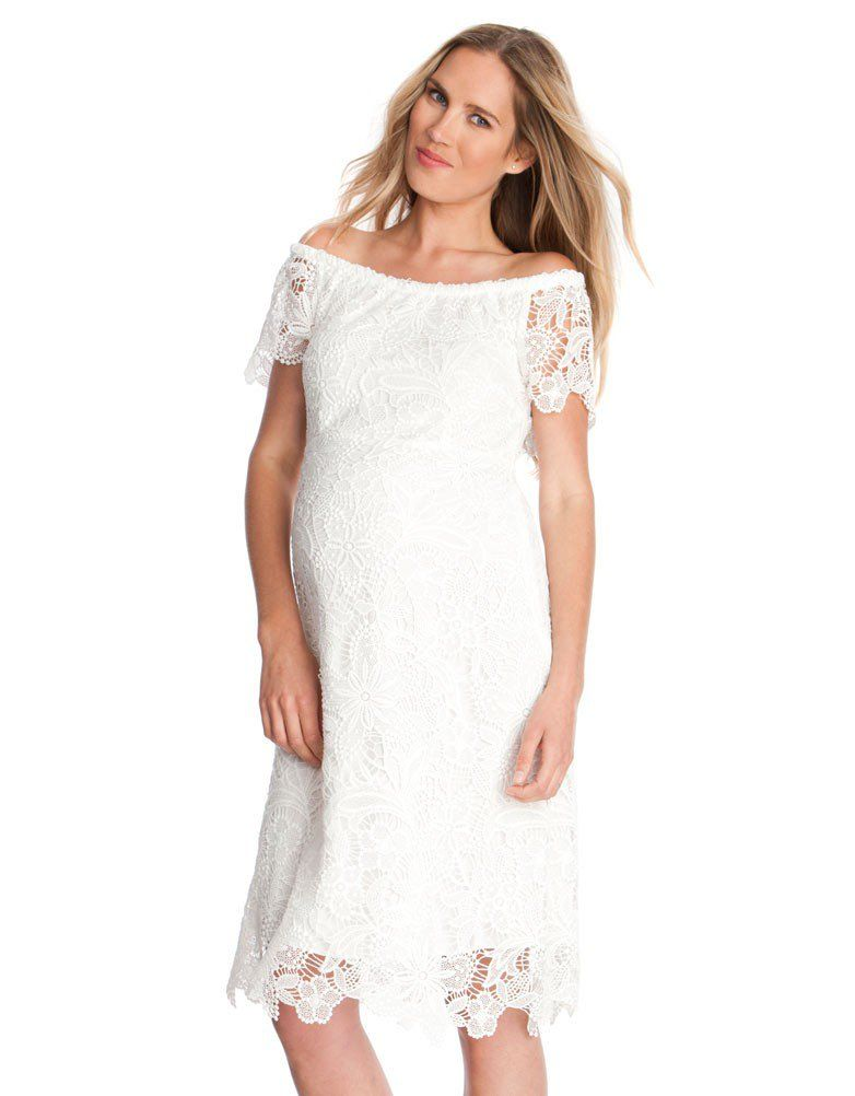White Off The Shoulder Lace Maternity Dress