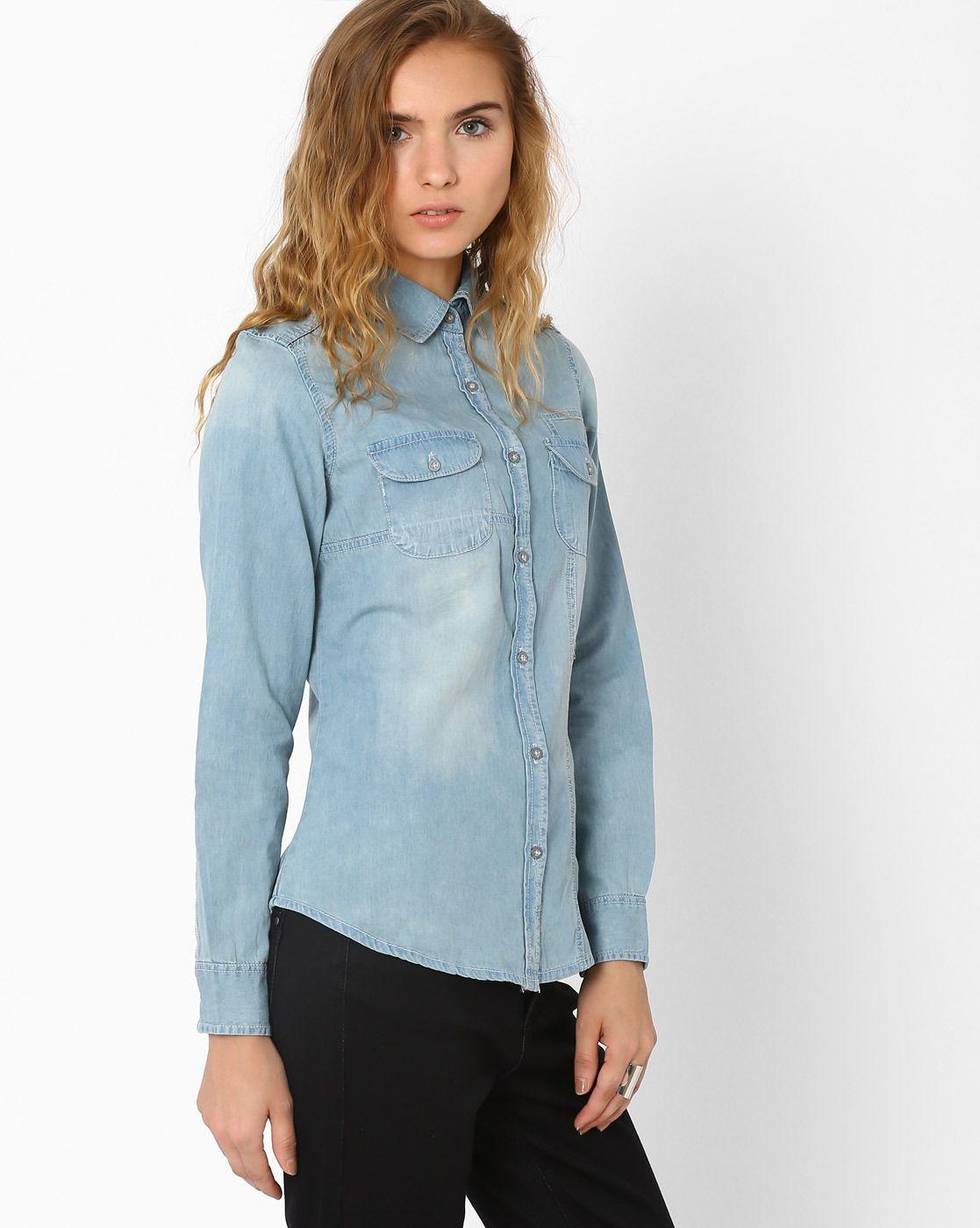 Denim Shirt With Flap Pockets Western Wear For Women Denim