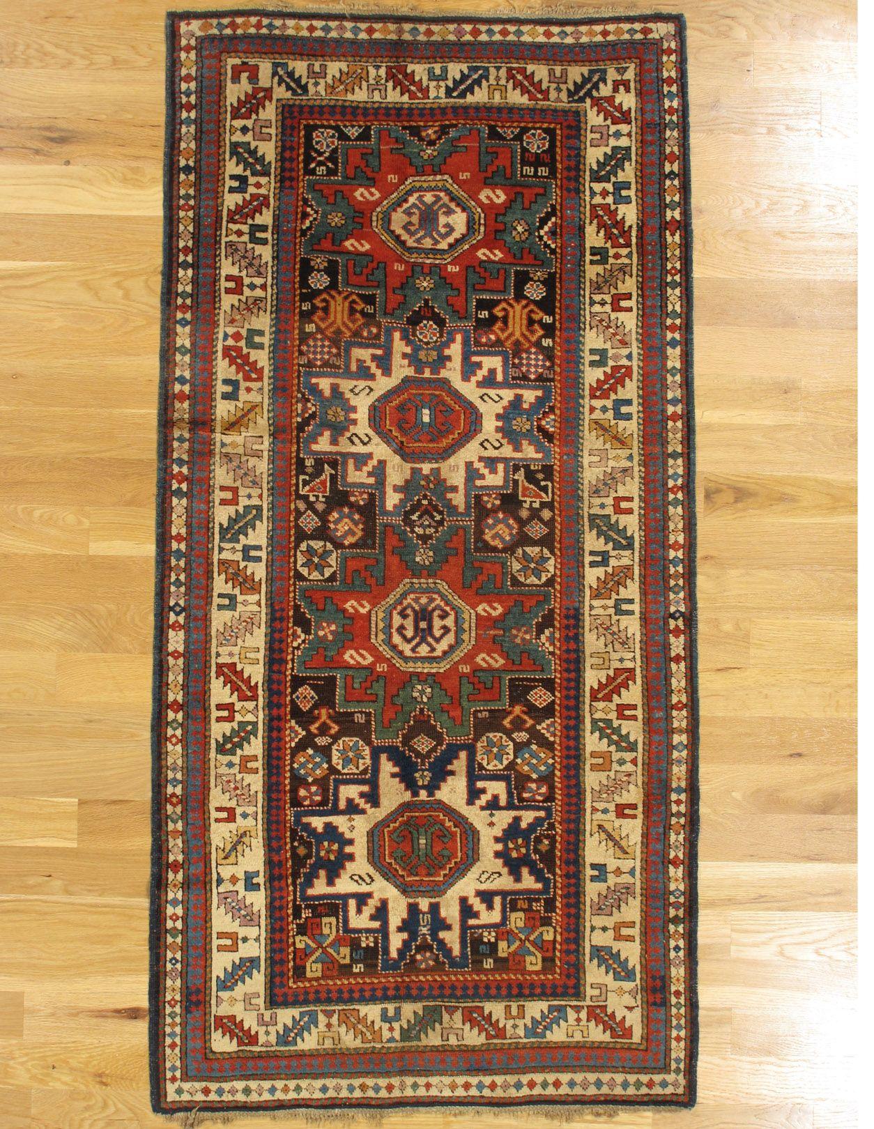 "Lesghi rug,Kuba District,Eastern Caucasus,circa 1870, 6'.0""x3'.0"" (183x91 cm)."