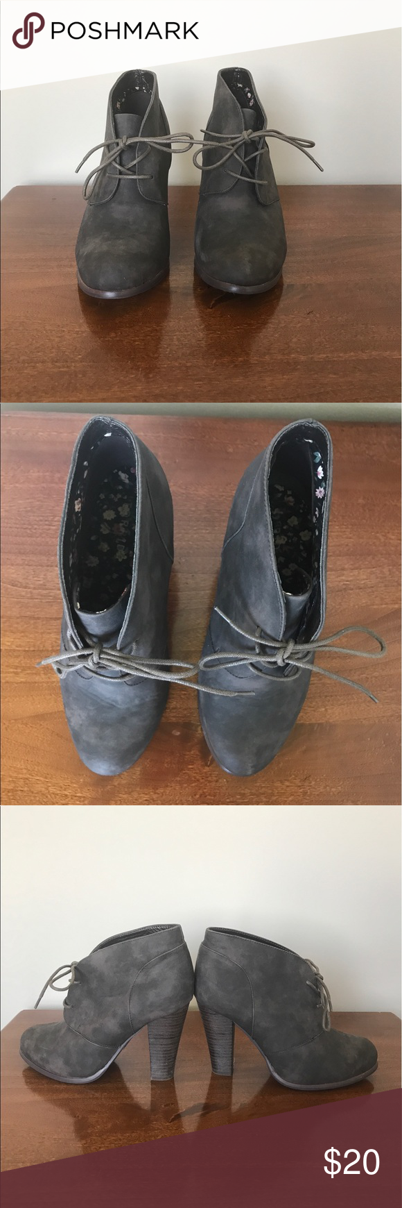 💚2 for $25 sale Torrid gray tie up booties Let me know if you have any questions, 2 for $25 Torrid Shoes Ankle Boots & Booties