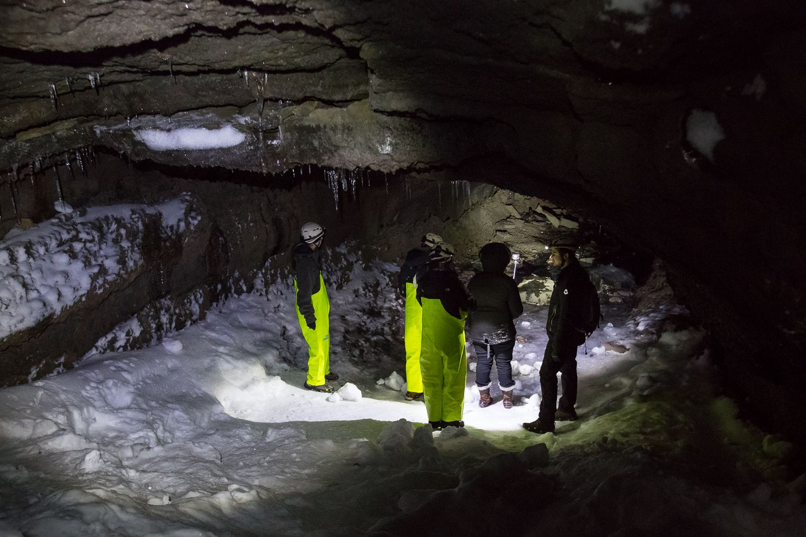Leiðarendi cave is a large lave tube close to Reykjavik.