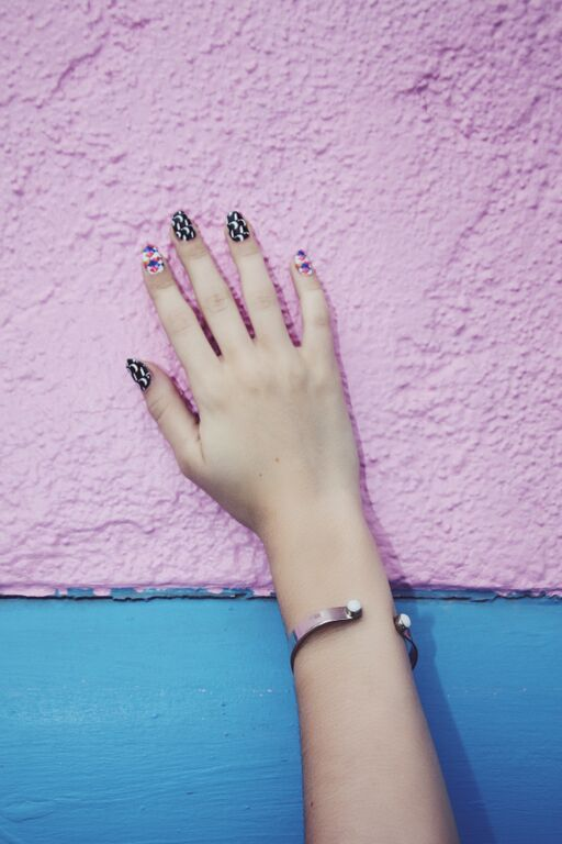 Pink walls make the perfect background for nail wraps! Customize ...