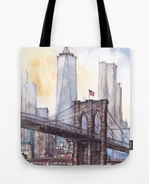 #ny #newyork #usa #illustration #ink #watercolor #art #sketch #urban #architecture #colorful #multicolor #aerialview #buildings #tourism #tourist #brooklyn #bridge #sale #gift #idea #s6 #society6 #printondemand #shopping #giftidea #handdrawn #drawing #painting #homedecor #decoration #artist #architect #fineart #turquoise #blue #sky #positiveart #positive #vacation #oneworldtradecenter #skyscrapers #water #bag #shopping #grocery #eco #ecology #totebag #handbag