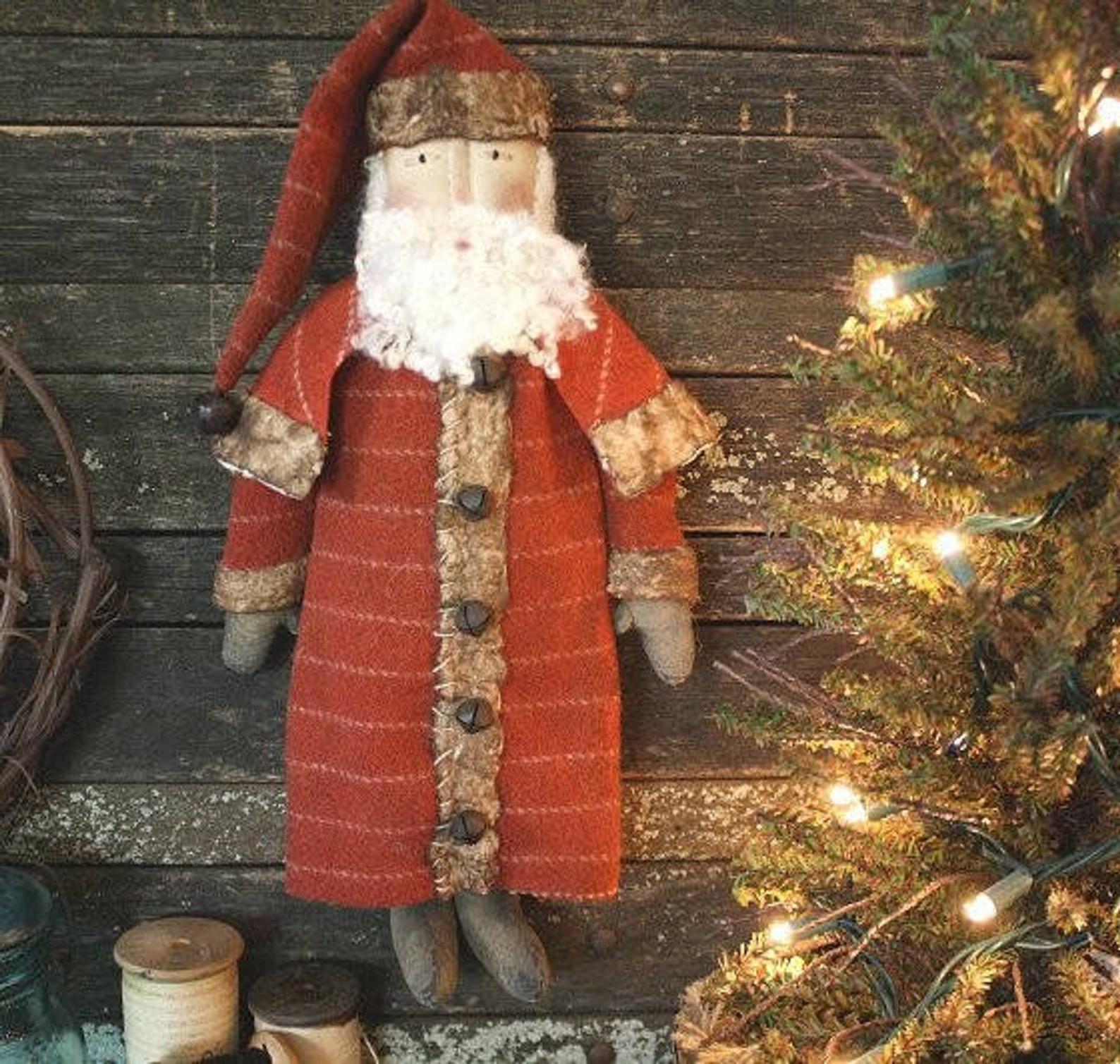 PATTERN Primitive Black Doll w// Christmas Santa Claus Hat /& Snowman Angel Ornie