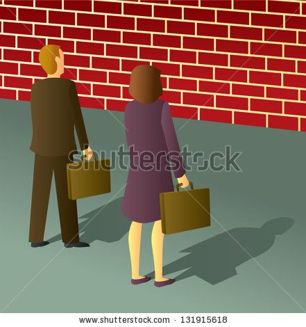 Two business people stopped by a brick wall dead end. - stock vector