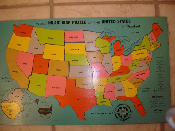 Vintage Wooden Playskool Us Puzzle Map Free Ship Jesse Robinson - Map-of-us-puzzle