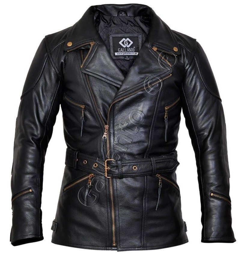 Eddie Black 3/4 Mens Motorcycle Motorbiker Long Leather