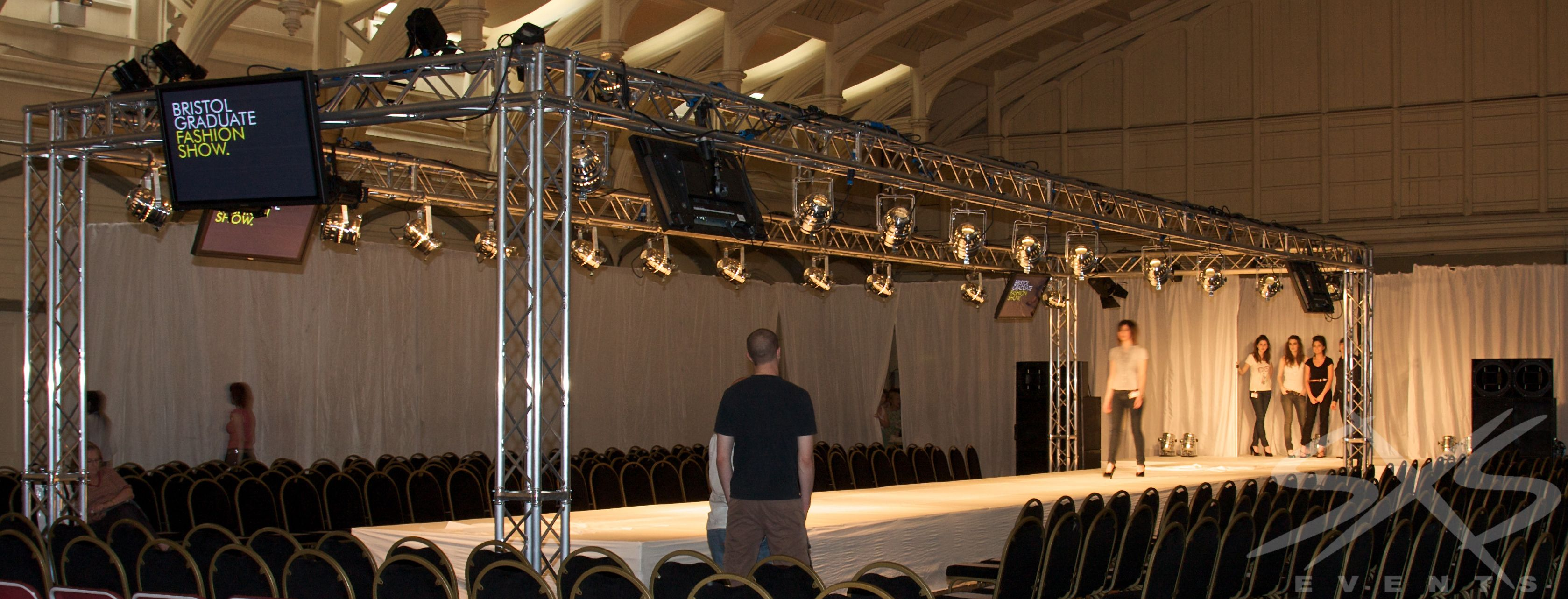 Fashion show catwalk and lighting rig on ground support