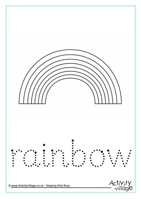 our rainbow word tracing worksheet offers a simple rainbow to colour in with the word to trace over below